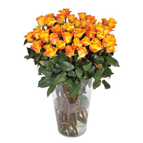 Bouquet de roses oranges r alis par un artisan fleuriste for Bouquet de fleurs jaunes