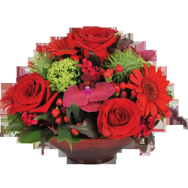Populaire composition de roses rouges et orchidées livraison sur nancy ZE46