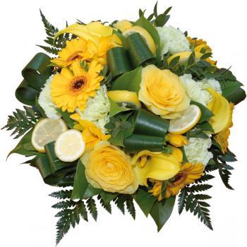 Bouquet rond porche d 39 eau coloris jaune et blanc livraison for Bouquet de fleurs jaunes