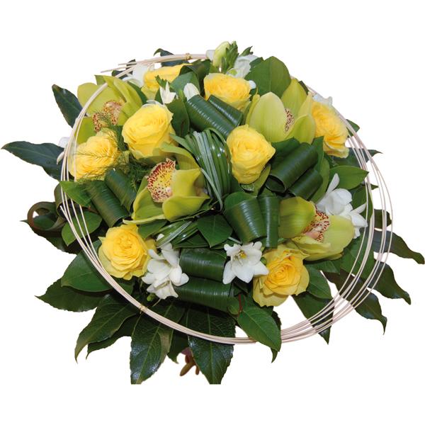 Bouquet de fleurs jaunes avec orchid es et freesias for Bouquet de fleurs jaunes