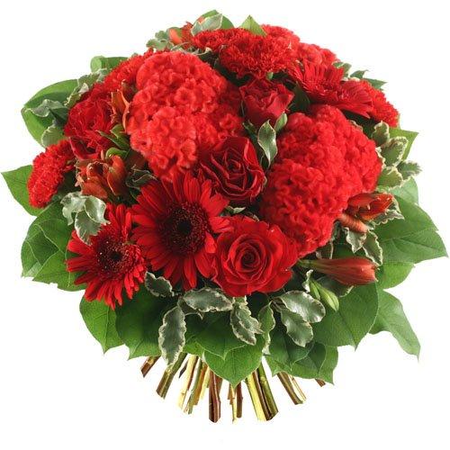 Célèbre bouquet de fleurs rouges avec des roses rouges amour RJ84