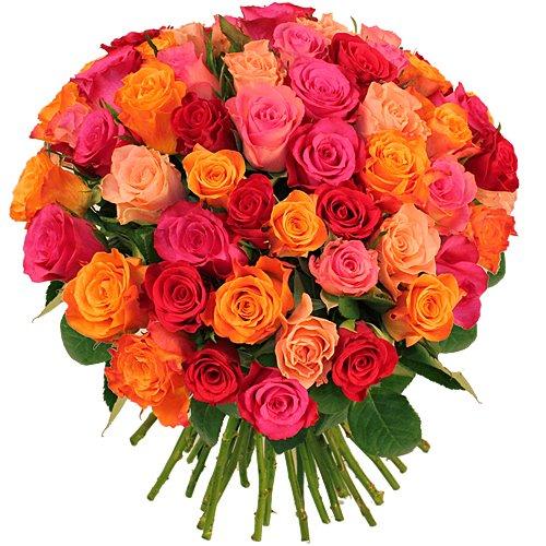 Bouquet De Roses Multicolores Lea