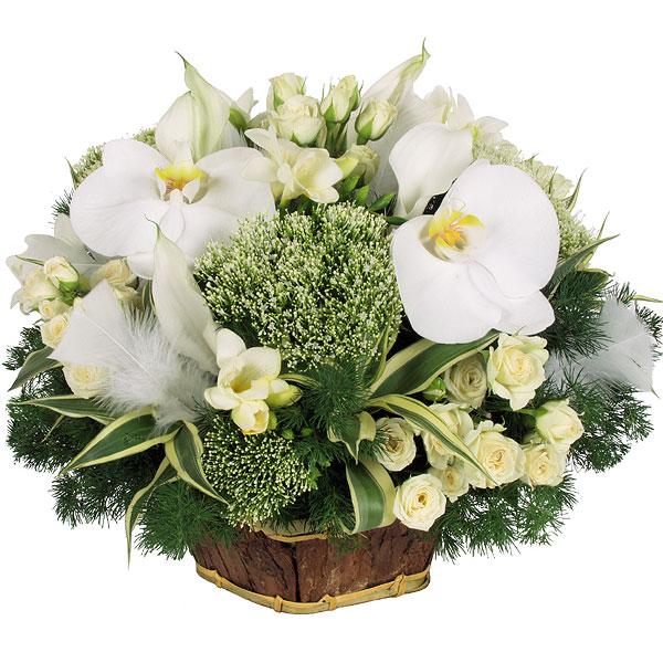 Composition de table blanche et verte livraison sur nancy for Bouquet de fleurs zen