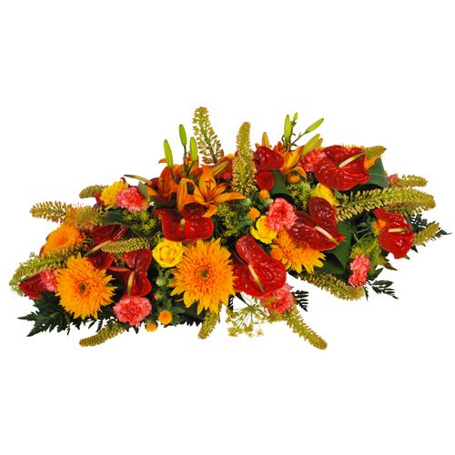Coussin multicolore pour mettre sur une tombe ou sur un for Bouquet de fleurs orange et jaune