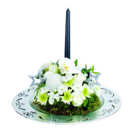 Centre de table en fleurs blanche