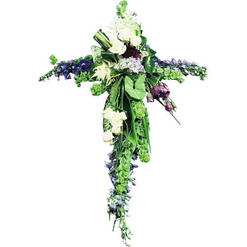 croix moderne en fleurs