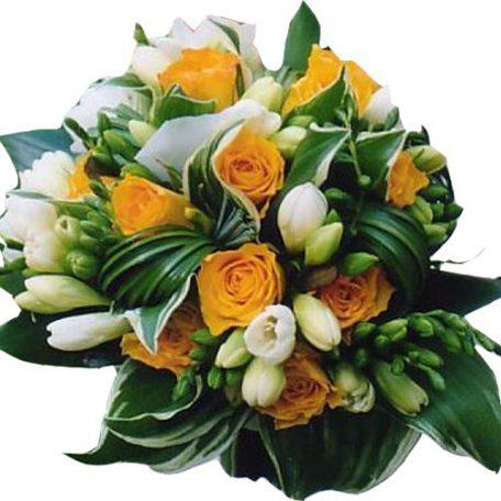 Bouquet de mariée orange et blanc