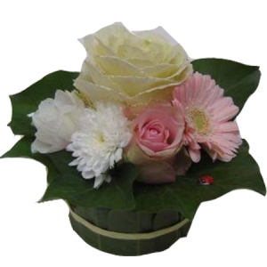 Petite composition dans un contenant en feuille de laurier, avec des roses roses , blanches et marguerites